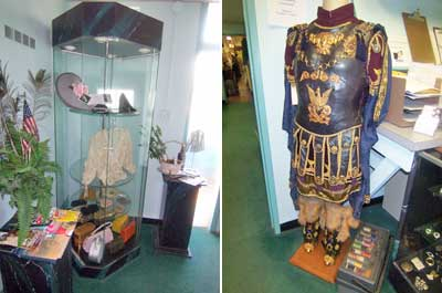 A case contains assorted accessories (l) and an authentic gladiator suit is displayed & Valentinou0027s Costumes For Every Occasion | Splash Magazines | Los Angeles