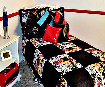 Red and Black Patent Leather Teen Bedding