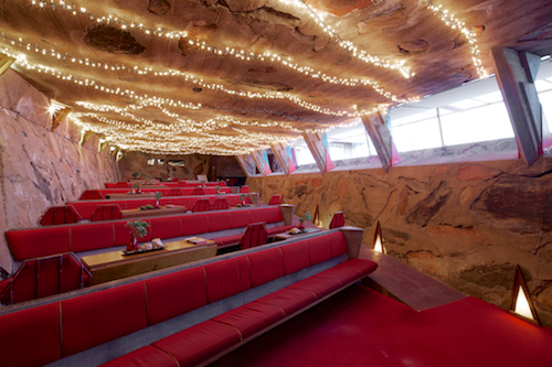 The aisle lighting in the theater building is said to be one of the Wright innovations for which he is not officially credited. Photo by Andrew Pielage & Taliesin West Review u2013 Completing the USA Frank Lloyd Wright Tour ...
