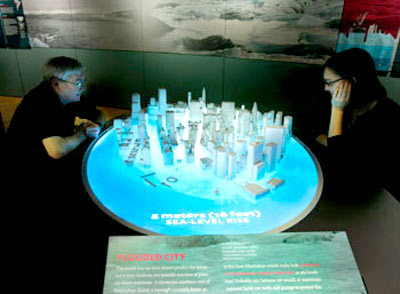An exhibit showing rising sea levels at the Chicago Field Museum.