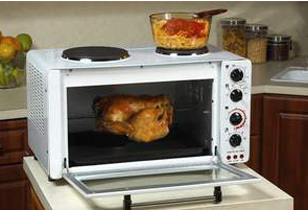 AVANTI OCRB43W The Portable Oven with Convection, Rotisserie, and Two Cook Top Burners