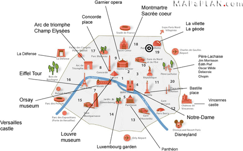 Paris Review Covering A Long List Of Things To See Splash - Things to see in paris map