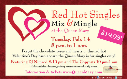 a unique valentines day event just for singles when the red hot singles mix n mingle takes over the queens salon aboard the iconic ship tuesday