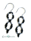 Black and Sterling Silver Infinity Earrings