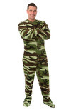 Green Camouflage Fleece Adult Footed Pajamas by BigFeetPJs.com