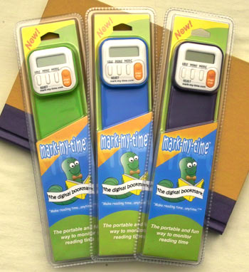 Available in three hot colors, The Mark-My-Time Digital Bookmark gets kids excited about reading