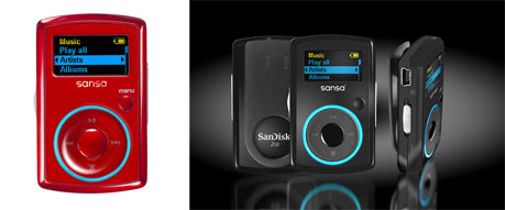 SanDisk Sansa Clip MP3 player in candy apple red & black