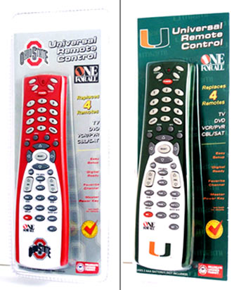 Ohio State University and University of Miami universal college remotes