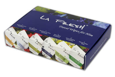 New line of extremely portable travel wipes offers a convenient solution to today�s strict airline regulations � available at www.lafreshgroup.com.