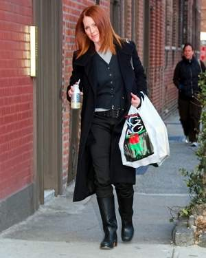 Julianne Moore enjoys Caribou Iced Coffee while shopping in NYC.