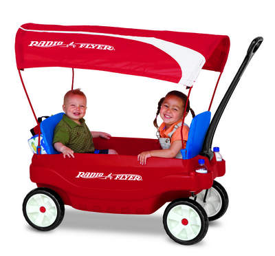 Radio Flyer Ultimate Family Wagon with child