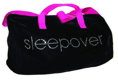 Black Velvet Sleepover Bag with Rhinestone Lettering