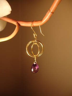 Bridget Lynne Designs Double Circle Amethyst Drop Earrings