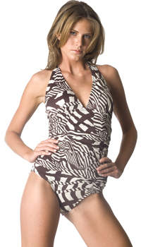Shirred halter one-piece