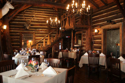 The log cabin dining room at The Rainbow Lodge - Houston