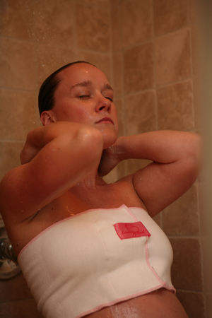 The Shower Hug is mama's essential for breast pain relief during pregnancy and breastfeeding.