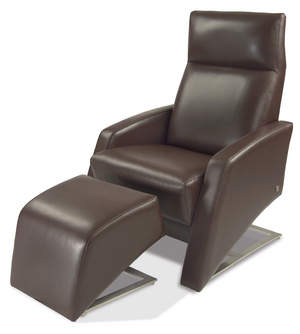 Clever Ottoman & Recliner from American Leather - three-quarter view