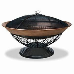 Outdoor Fireplace 30in Copper Bowl with Decorative Black Stand