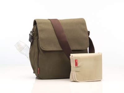 Storksak Red Label Alex bag in army (also available in black)
