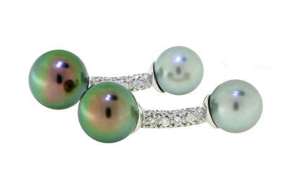 Tara & Sons Tahitian Pearl & Diamond Cufflinks