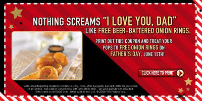 T.G.I. Friday's To Treat Dads to Free Onion Rings on Father's Day