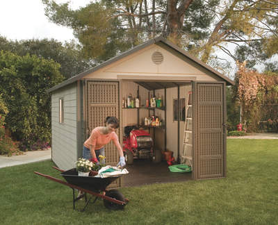 Outdoor storage sheds from Lifetime provide an ideal place to store lawn care and gardening implements
