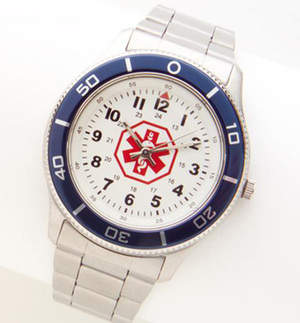 Lauren's Hope Men's Stainless Steel Medical ID Watch