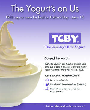 TCBY Father's Day Giveaway details