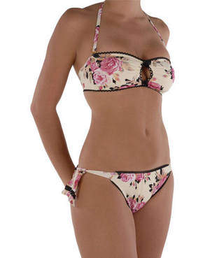 Betsy Johnson Beauty Roses Tieside Bandeau Bikini
