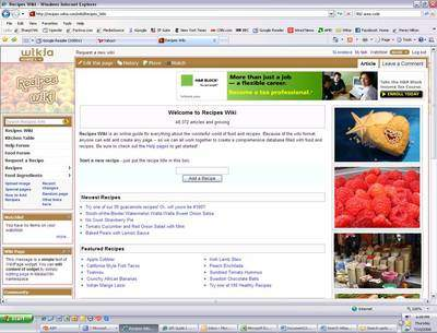 Screen Shot of Recipes Wiki front page