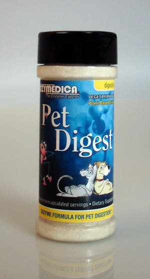 Pet Digest is safe for mammals and can be added to regular pet food