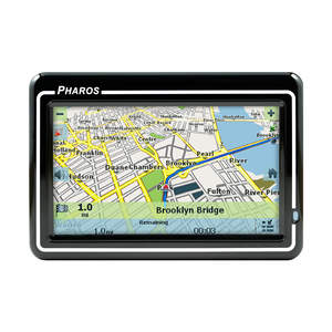 Pharos' Drive GPS 250 is a sleek portable navigation device distinguished by a large 4.3 inch touch screen display and remarkably easy to use software.