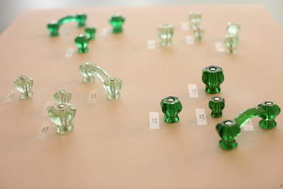 Green glass pulls - perfect for holiday decorating