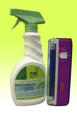 PureAyre pet spray and blacklight to detect urine