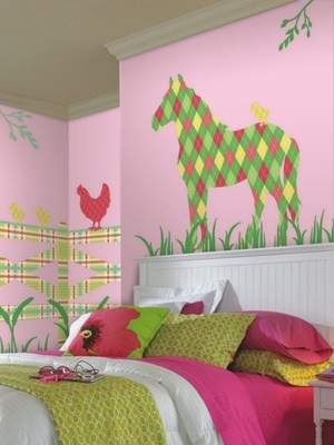 ZooWallogy from WallPops features removable, repositionable vinyl wall art showcasing farm and safari animals. Addison the Horse is shown above.