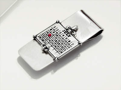Solid Sterling Silver Money Clip and Charm