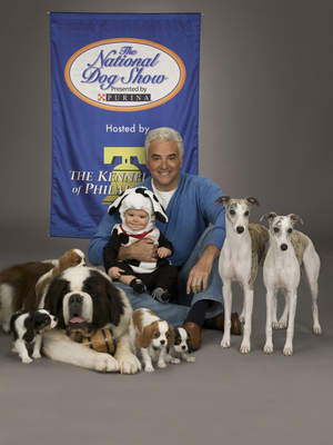 John O'Hurley with his dogs and son, William
