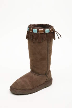 Beaded Suede Fringe Boot Hug