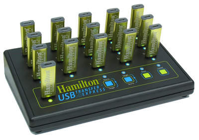 The TransferExpress by Hamilton Electronics can copy or collect data from upto 15 USB 2.0 compatible devices at once