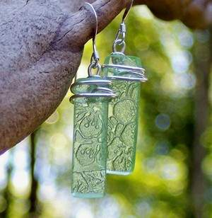 Antique Green Depression Glass Earrings