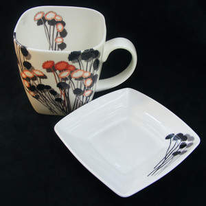 Square Mug and Saucer in Daisies 2