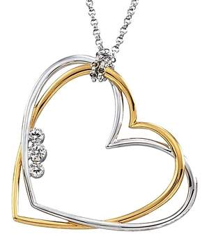 B2C Jewels Two-Toned Gold Heart Pendant