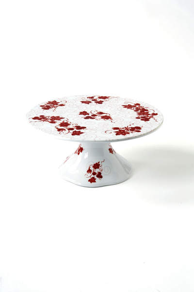 Red Toile Servingware Cake Stand