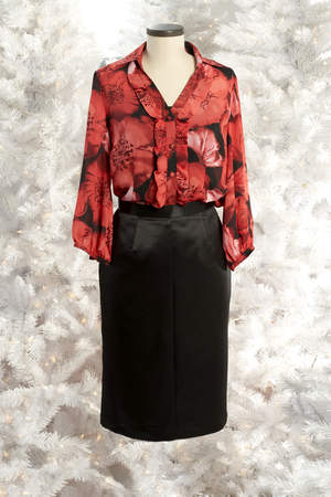 Jaclyn Smith Red Floral Print Ruffle Blouse & Black Pencil Skirt