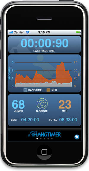 HangTimer records your hang time and speed - great for those of you into jumps!