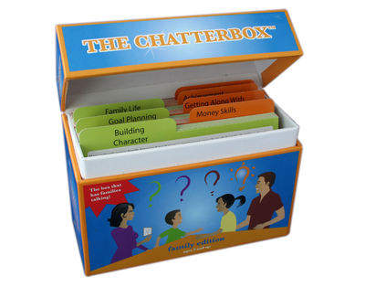 The Chatterbox™ helps kids learn important life skills through asking targeted questions, providing exciting games and reinforcing tasks designed to inspire family communication and teamwork.
