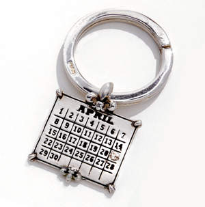 Sterling Silver Calendar Charm and Key Ring