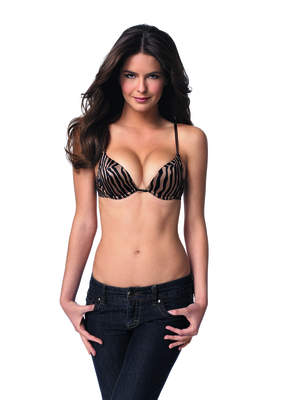 The Wonderbra Light Lift Gel Push Up bra in abstract animal