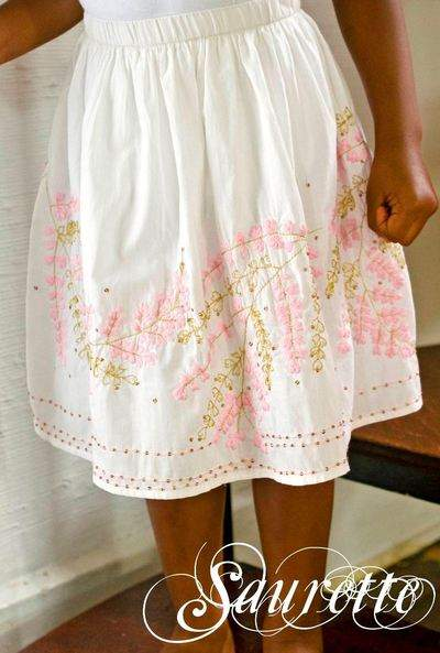 White Embroidered Hem Skirt