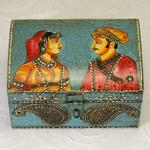Raja Rani Hand-Painted Jewelry Box